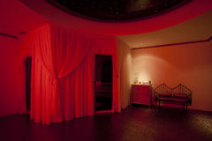 Red private spa. Oriental sauna and spa in red led lights Stock Photo