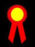 Red Prize Ribbon. An image of a red prize ribbon with a yellow middle.  Designers can insert any placement in the yellow portion Stock Photo