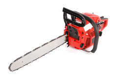 Red professional chainsaw Stock Images