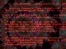 Red Programming Code Source Design on Fractal Stock Photo