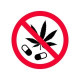 Red prohibition no drugs sign. Don`t use narcotics sign. Do not use drugs forbidden sign Royalty Free Stock Images