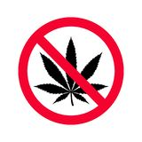 Red prohibition no drugs sign. No marijuana sign. Royalty Free Stock Photos