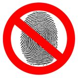 Red prohibition sign. crossed fingerprint Stock Photo