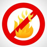 Red prohibition sign with fire flame. No fire. Red prohibition sign with fire flame isolated on white background. Vector illustration vector illustration