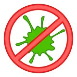 Red prohibition sign and green slime icon Stock Images