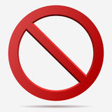 Red prohibition vector sign. No sign. Censor sign. Red prohibition vector sign. Round No symbol Royalty Free Stock Photos