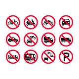Red prohibition vehicles signs. No motor vehicles, no bicycles, no automobiles. Trucks, busses, camper vans, scooters, motorcyc stock illustration