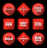 Red promotion badges Royalty Free Stock Images