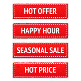 Red promotion fabric tags Stock Photography