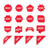 Red Promotion Labels With Word New. Set Of New Sticker. Royalty Free Stock Photos