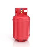 Red propane cylinder with compressed gas Stock Images