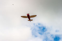 Red Propeller planes. Flying in the sky Stock Image