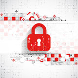 Red protection background. Technology security, encode and decrypt Stock Photos