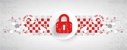 Red protection background. Technology security, encode and decrypt Royalty Free Stock Images
