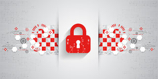 Red protection background. Technology security, encode and decrypt Royalty Free Stock Photos
