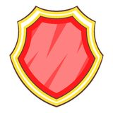 Red protection shield icon, cartoon style. Red protection shield icon. Cartoon illustration of red protection shield vector icon for web Stock Photography