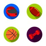 Red protective helmet, rugby ball, basketball ball, dumbbells. Sport set collection icons in flat style vector symbol Stock Photos
