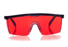Red protective shooting glasses studio Stock Photo