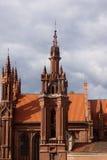 Red pseudo-gothic church Stock Photos