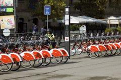 Red public bikes, public transport in square stock images