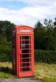Red public phone cab, scotland stock photo