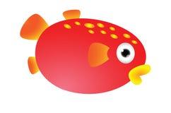 Red puffer fish cartoon Stock Image