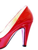 Red Pump. Close up of the heel and shape of a red ladies shoe Royalty Free Stock Photo
