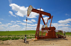 Red pump jack Royalty Free Stock Photography