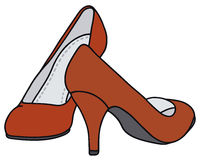 Red pumps. Hand drawing of a red pumps Stock Photos