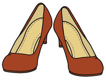Red pumps. Hand drawing of a classic red pumps Stock Images