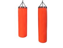 Red punching bags Royalty Free Stock Photography
