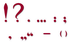 Red punctuation marks. Vector illustration Stock Photography