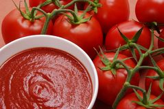 Red purity. Passata creamed tomatoes. Creamed tomatoes sauce Stock Images