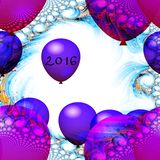 Red and purple balloons with inscription 2016. Front a fantasy fractal background Stock Image