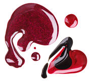 Red, purple and black nail polish blot samples Stock Photo