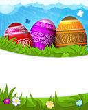 Red, purple and brown painted Easter eggs Royalty Free Stock Images