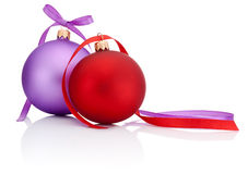 Red and Purple Christmas Ball with ribbon bow Isolated on white Royalty Free Stock Photography