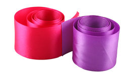 Red and purple cloth tape. Rolled on a white background Stock Photo