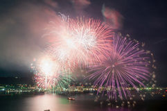 Red and Purple Firework Display Stock Photos
