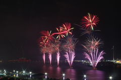 Red and purple fireworks. Demonstrating celebration, pyrotechnics and color royalty free stock image