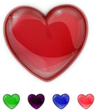 Red,purple,green,pink and blue glass shiny heart Royalty Free Stock Image