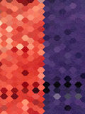 Red and purple hexagon background with free form line art textur Stock Photo