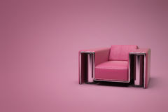 Red-purple leather chair. In a violet-red room Vector Illustration