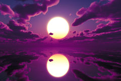 Red purple over sea. Dramatic purple sunset over calm sea stock illustration
