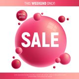 Red and purple sale desing with 3d bubbles. Great for invitation, card, product packaging, header, Poster, voucher, banners and etc Royalty Free Stock Photos