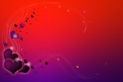 Red and purple valentine. Background illustration of red and purple valentine hearts scattered over gradient background Stock Photography
