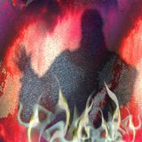 Halloween grunge background with warlock and flames. Red, purple and white scary scratched background with smoke, fire and silhouette of mysterious person Royalty Free Stock Photos