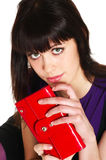 Red purse. Close-up portrait teenage girl with red purse royalty free stock image