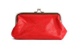 Red purse. On white Stock Photos
