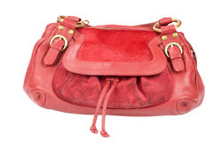 Red purse. Red woman's purse isolated on white Stock Image